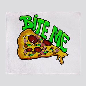 Bite me pizza Throw Blanket
