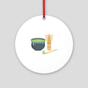 Matcha Green Tea Set Round Ornament