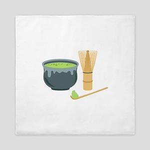 Matcha Green Tea Set Queen Duvet