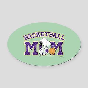 Snoopy Basketball Mom Full Bleed Oval Car Magnet