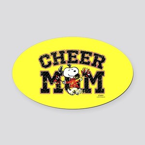 Snoopy - Cheer Mom Full Bleed Oval Car Magnet