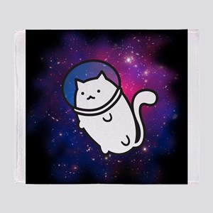 Fat Cat in Space Throw Blanket
