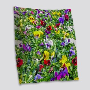 More Pansies Burlap Throw Pillow