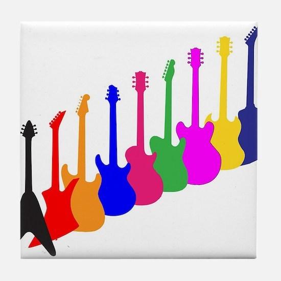 Modern Guitar Silhouettes Tile Coaster