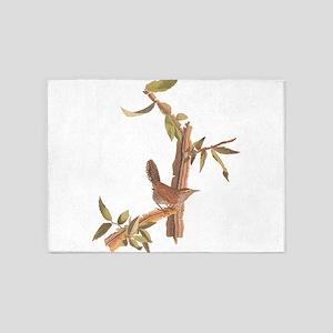 Bewick's Wren Audubon Vintage Art 5'x7'Area Rug