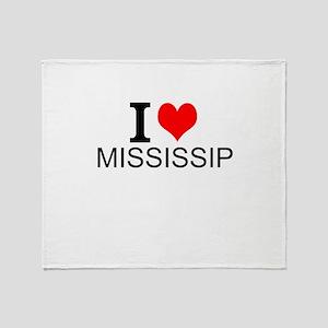 I Love Mississippi Throw Blanket