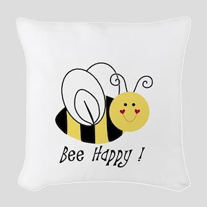 bee happy Woven Throw Pillow