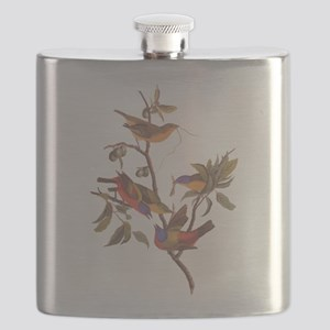 Painted Bunting Birds in Wild Olive Tree Flask