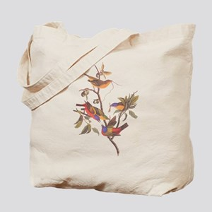 Painted Bunting Birds in Wild Olive Tree Tote Bag