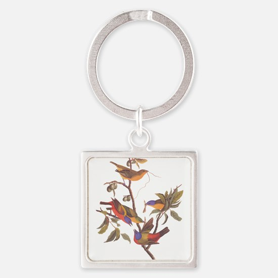 Painted Bunting Birds in Wild Olive Tree Keychains