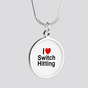 Switch Hitting Silver Round Necklace