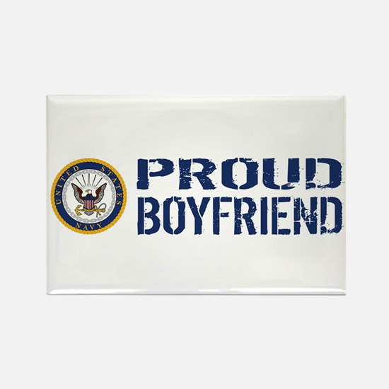 U.S. Navy: Proud Boyfriend (Blue Rectangle Magnet
