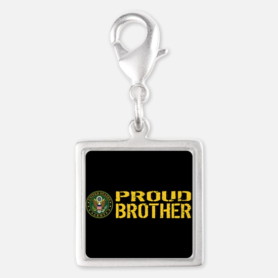 U.S. Army: Proud Brother (Bla Silver Square Charm
