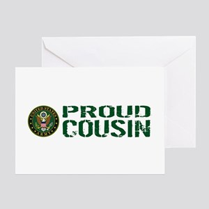 U.S. Army: Proud Cousin (Green & Whi Greeting Card