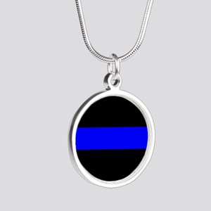 Police: The Thin Blue Line Silver Round Necklace