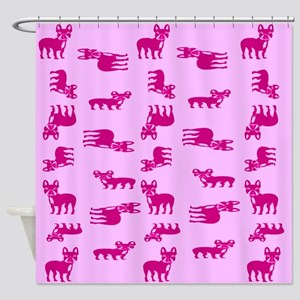 Pink French Bulldogs Shower Curtain