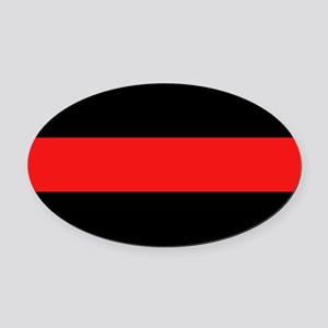 Firefighter: Red Line Oval Car Magnet