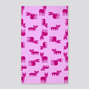 Pink French Bulldogs Area Rug