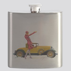 Fast Car and Flapper Lady Flask
