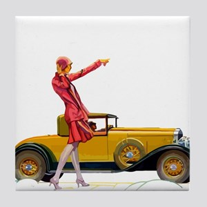 Fast Car and Flapper Lady Tile Coaster