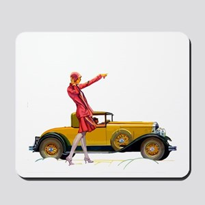 Fast Car and Flapper Lady Mousepad