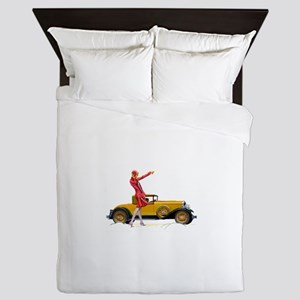 Fast Car and Flapper Lady Queen Duvet