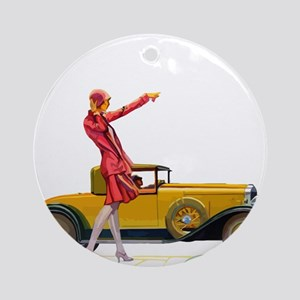 Fast Car and Flapper Lady Round Ornament