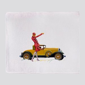 Fast Car and Flapper Lady Throw Blanket