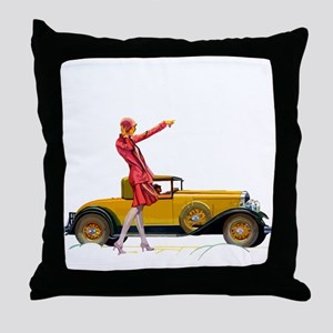 Fast Car and Flapper Lady Throw Pillow