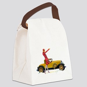 Fast Car and Flapper Lady Canvas Lunch Bag
