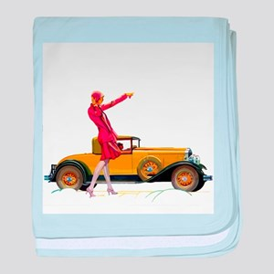 Fast Car and Flapper Lady baby blanket