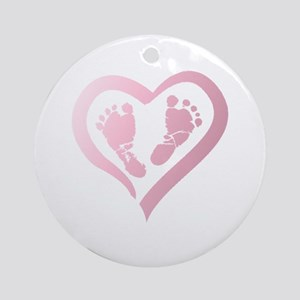 Baby Prints in Heart by LH Round Ornament