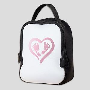 Baby Prints in Heart by LH Neoprene Lunch Bag