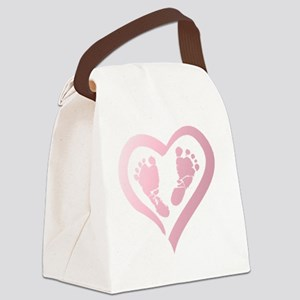 Baby Prints in Heart by LH Canvas Lunch Bag