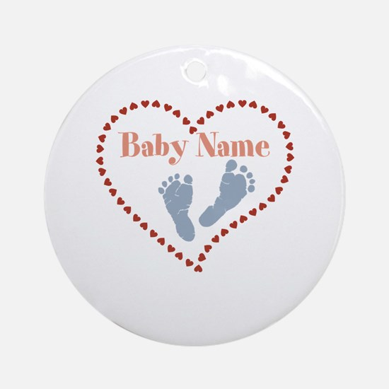 Baby Feet and Heart Round Ornament