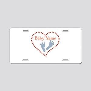 Baby Feet and Heart Aluminum License Plate