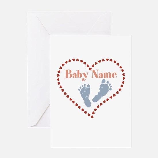 Baby Feet and Heart Greeting Cards