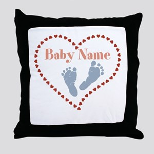 Baby Feet and Heart Throw Pillow