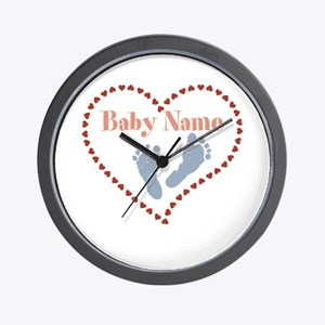Baby Feet and Heart Wall Clock