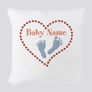 Baby Feet and Heart Woven Throw Pillow