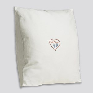Baby Feet and Heart Burlap Throw Pillow
