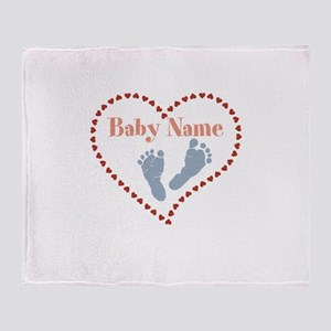 Baby Feet and Heart Throw Blanket