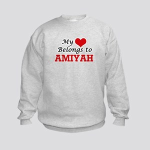My heart belongs to Amiyah Kids Sweatshirt