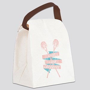 Distressed Live Love Lacrosse LAX Canvas Lunch Bag
