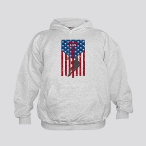 American Flag Red White and Blue LAX L Kids Hoodie