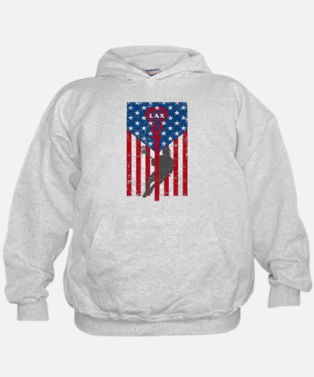 American Flag Red White and Blue LAX L Hoodie