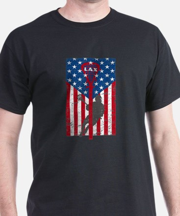American Flag Red White and Blue LAX Lacro T-Shirt