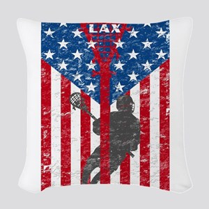American Flag Red White and Bl Woven Throw Pillow