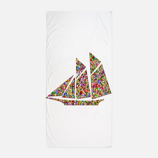 Mosaic Sailmoat Schooner Beach Towel