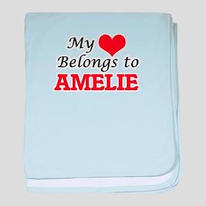 My heart belongs to Amelie baby blanket